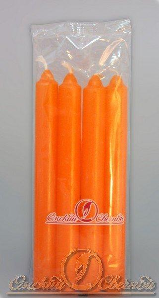 Свеча столовая 175мм (d19 мм) вес 40 гр оранжевая  , 4 шт