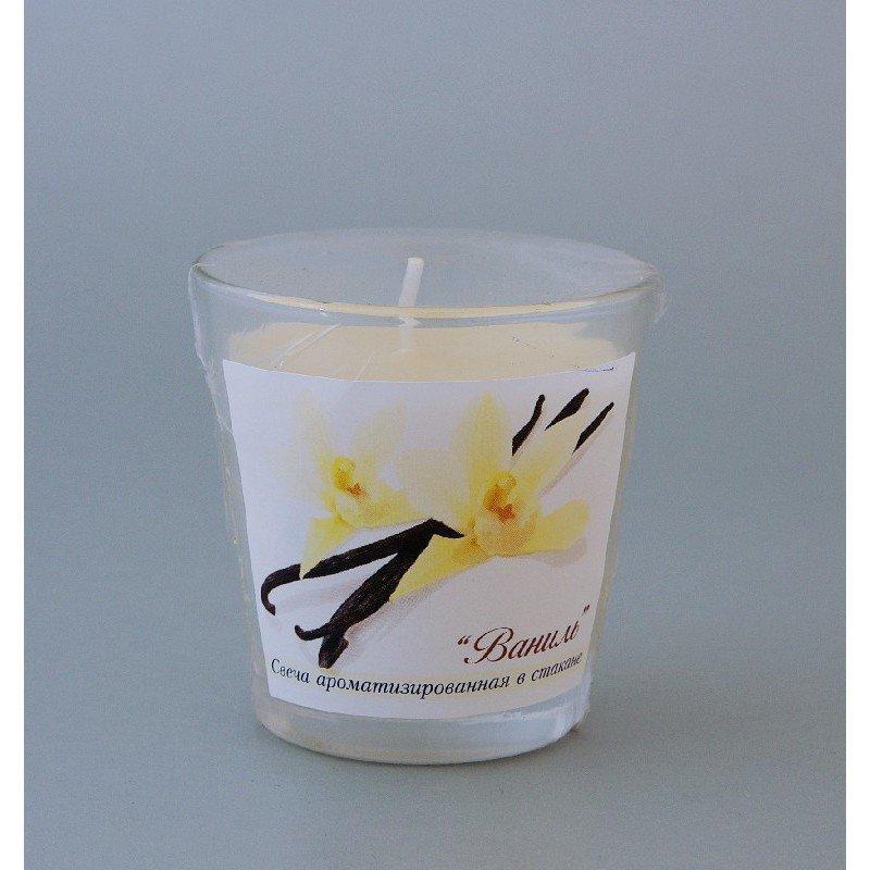 Свеча ароматизированная в стакане Ваниль h65мм d65мм
