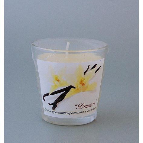 Свеча ароматизированная в стакане Ваниль h65мм d65мм, фото 2
