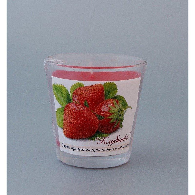 Свеча ароматизированная в стакане Клубника h65мм d65мм