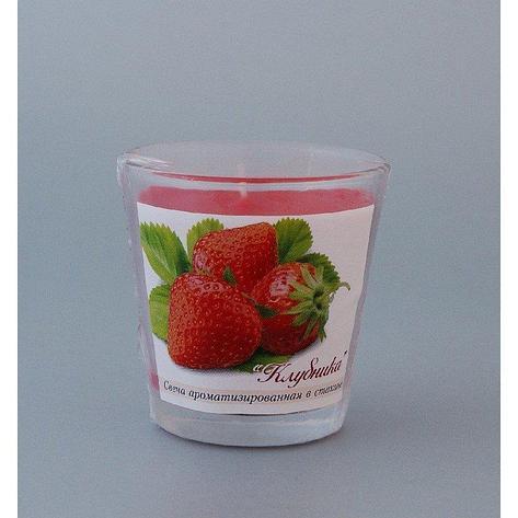 Свеча ароматизированная в стакане Клубника h65мм d65мм, фото 2