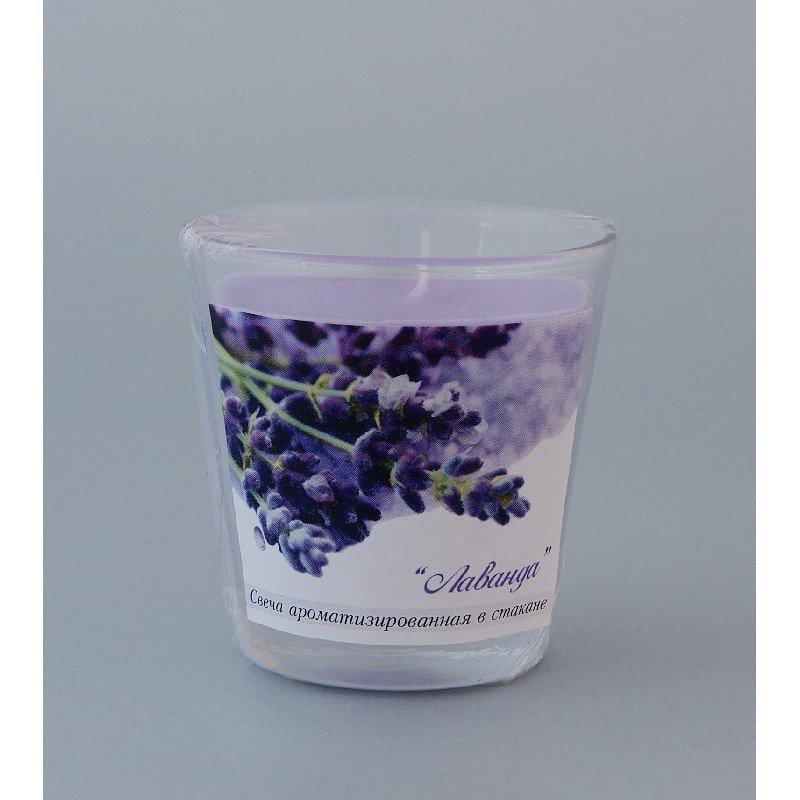 Свеча ароматизированная в стакане Лаванда h65мм d65мм