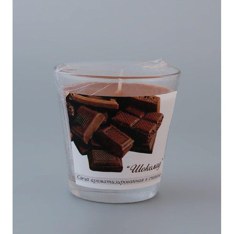 Свеча ароматизированная в стакане Шоколад h65мм d65мм
