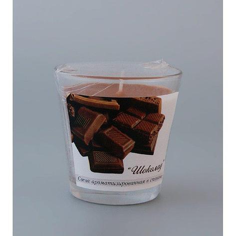 Свеча ароматизированная в стакане Шоколад h65мм d65мм, фото 2