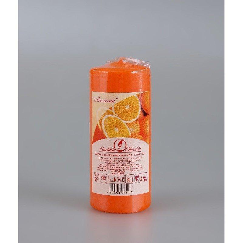 Свеча-пенек ароматизированная Апельсин h115мм d50мм