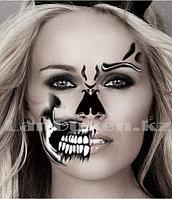 """Временная татуировка на Хэллоуин """"Череп Scull"""" челюсть, нос, бровь,зубы"""