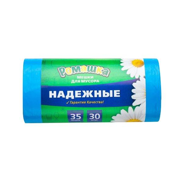 Мешки д/мусора 35л. 50х57,5 -Ромашка (рулон 30шт.) синий Надежные ПСД