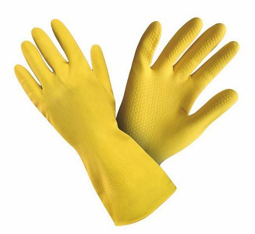 Перчатки  рез. жёлт. (XL) (каучук на хлопк. основе), Люкс-класс, особо прочные, фото 2