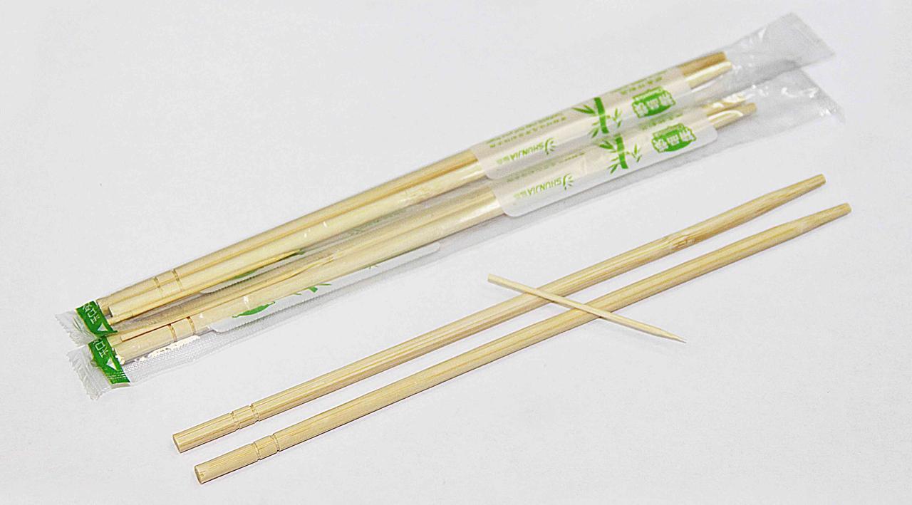 Палочки  китайские h 230мм d 5мм, бамбуковые в инд.ПЭ.упак.с зубочисткой, 100 шт