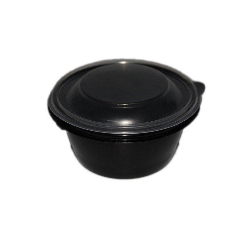 Контейнер-миска 500 мл, круглый, d-144 мм, h-60 мм, черный, PP, 540 шт