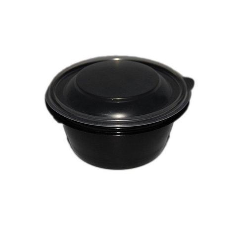 Контейнер-миска 500 мл, круглый, d-144 мм, h-60 мм, черный, PP, 540 шт, фото 2