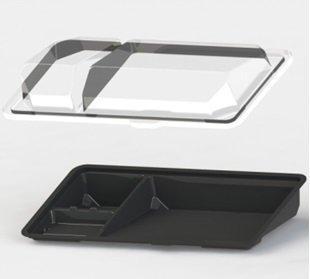 Контейнер ДЛЯ СУШИ (3 ячейки, витрина), внеш. 195х106х40мм, внутр. 175х83х36мм, черный, ПС, 1000 шт