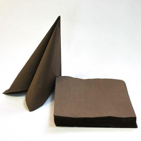 Салфетки 33х33см, 2 сл., шоколад (BROWN), Бумага, 20 шт, фото 2