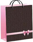 """Пакет мягкий пластик 40х30см, 140мкм, с пл. ручкой, """"Розовый бантик"""""""