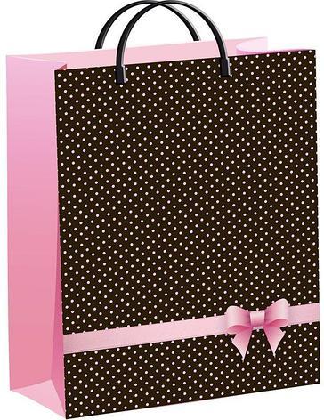 """Пакет мягкий пластик 40х30см, 140мкм, с пл. ручкой, """"Розовый бантик"""", фото 2"""