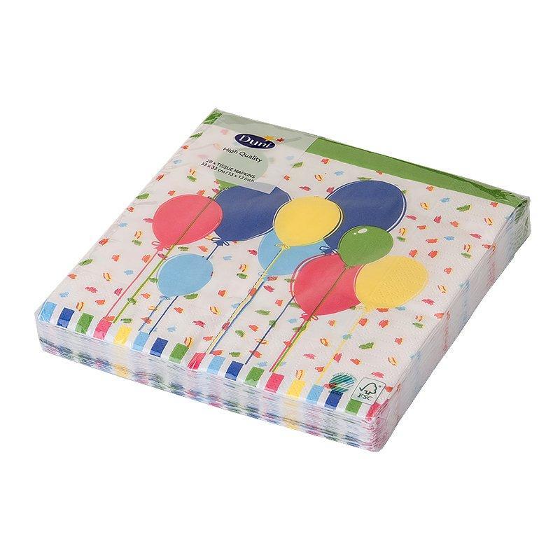 "Салфетки 33х33см, 3 сл., ""Balloons & Confetti"", Бумага, 20 шт"