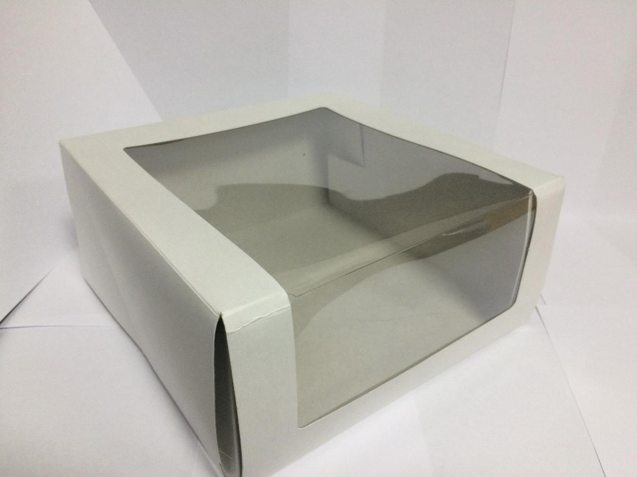 Коробка Pasticciere 225х225х110мм КТ 110 (с окном), белый, 50 шт