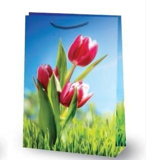 """Пакет ламин. 21х32х8см """"Красные тюльпаны"""" , бум., 10 шт, фото 2"""