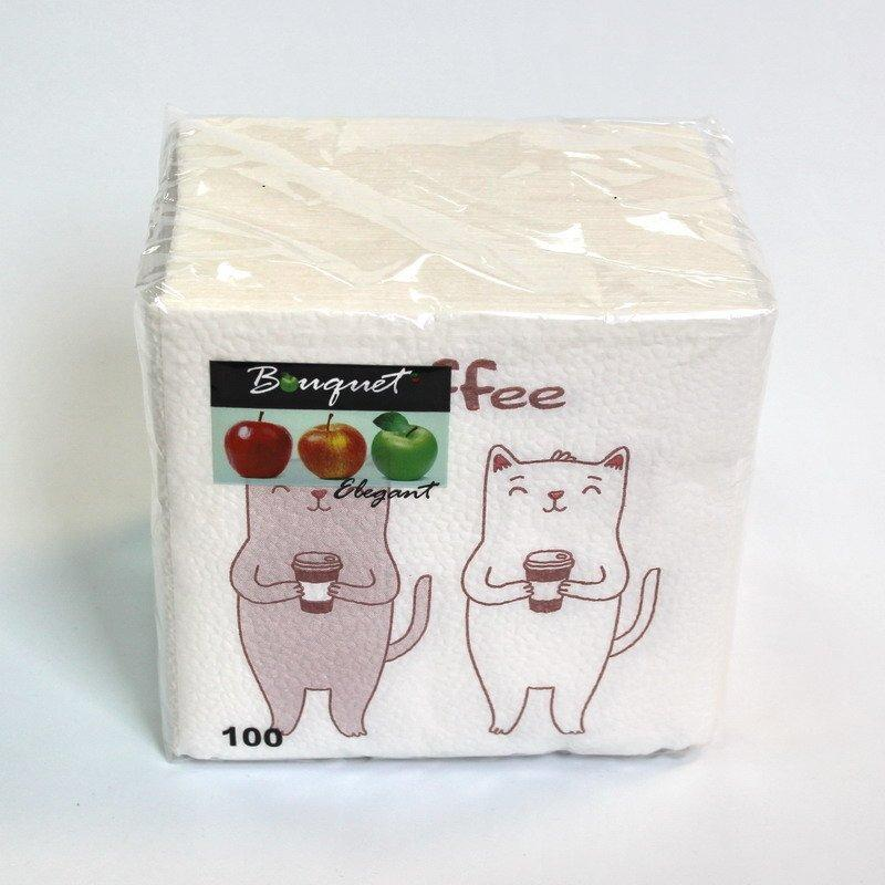 "Салфетки 25х25см, 1 сл., ""Coffee Cat"", бел., Бумага, 100 шт/уп, 100 шт"
