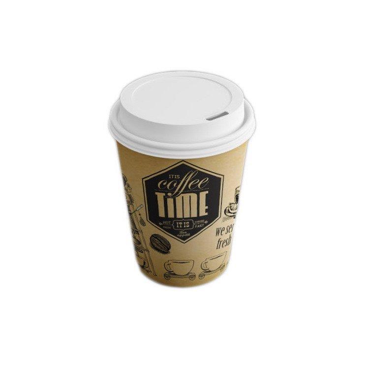 Стакан д/хол./гор., 0.25л, d верх80мм, d нижн 55,6мм, h92,5мм, 280+15г/м2, Кофе тайм, картон, 1000 шт