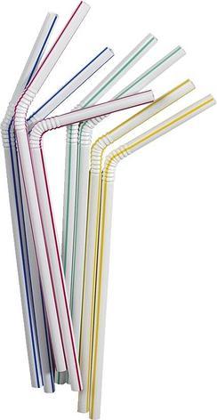 Трубочки д/коктейля  гофрир. , h195 мм , полосат., ПС 40шт/уп, 40 шт, фото 2
