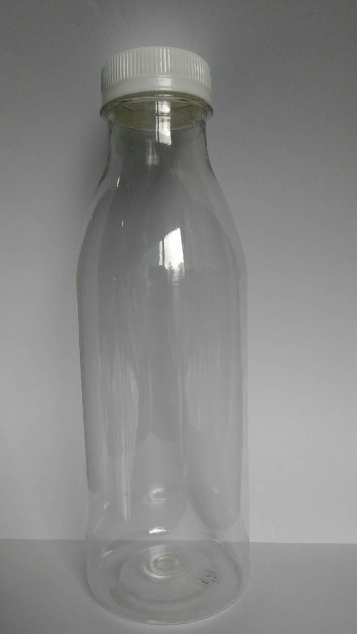 ПЭТ бутылка прозрачн., 0.5 л, h 203 мм, с крышкой, широкое горло, 100 шт