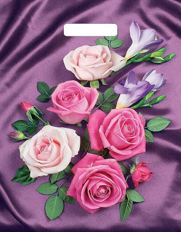 """Пакет (мешок) проруб. ПВД 40х31см, 60мкм, """"Атласные розы"""", 50 шт, фото 2"""