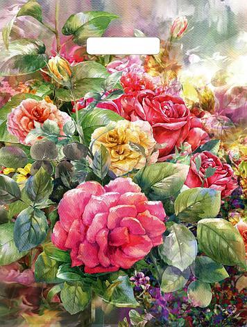 "Пакет (мешок) проруб. ПВД 45х38см, 60мкм, ""Розы на холсте"", 50 шт, фото 2"