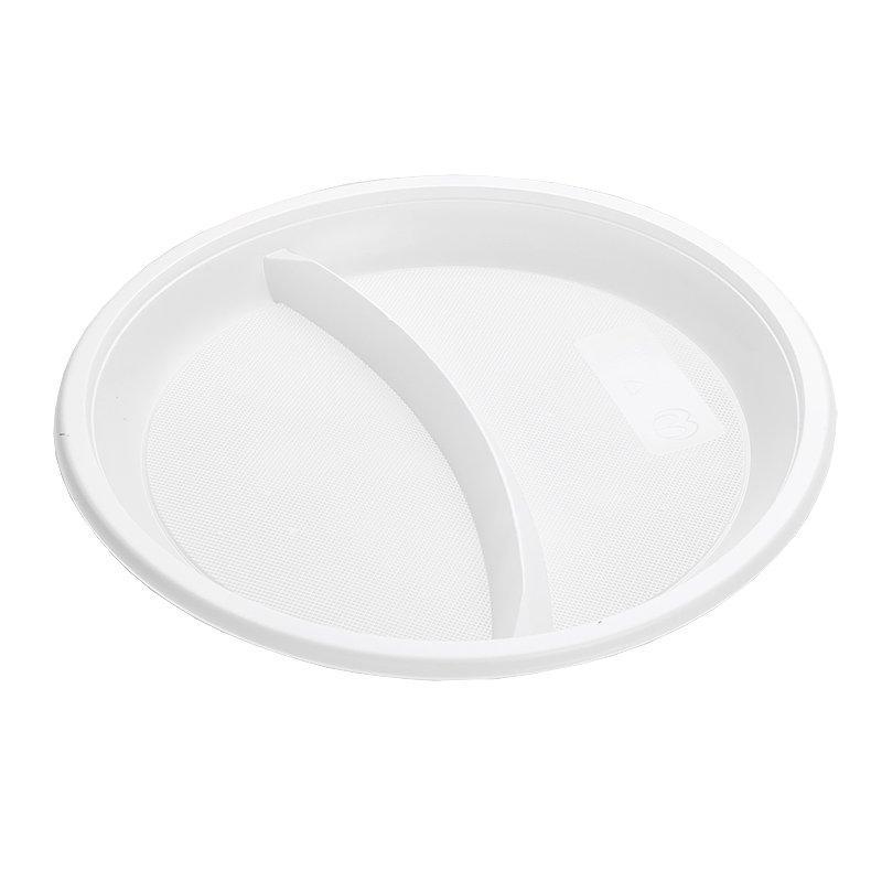 Тарелка 2-секции d 210мм, белая, 12 шт