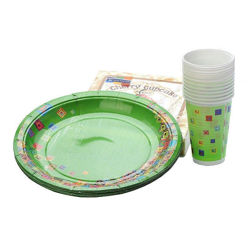 """Набор """"Стандарт"""", (10 стаканов,10 карт.тар.d-230мм,20 салфеток) """"Мозаика"""" зеленый, 10 шт"""