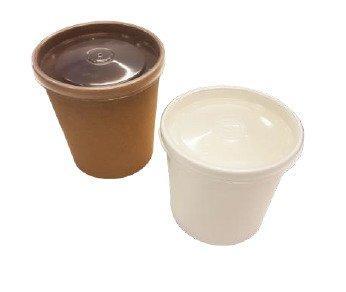 """Упаковка """"DoEco"""" d-70мм, h-85мм, 340мл ECO SOUP 12W ECONOM, для супа, белая с пластиковой крышкой, 250 шт"""