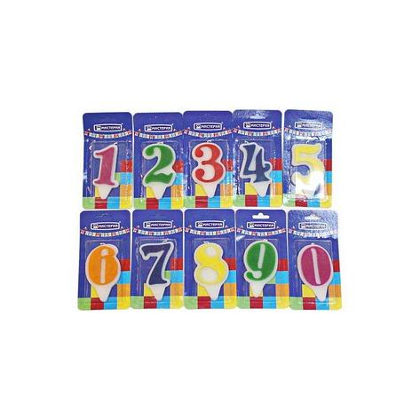 "Свеча для торта  цифра 2 ""Волна"" цвет в ассортименте вес 15г d 9*5мм, фото 2"