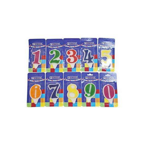 "Свеча для торта  цифра 6 ""Волна"" цвет в ассортименте вес 15г d 9*5мм, фото 2"