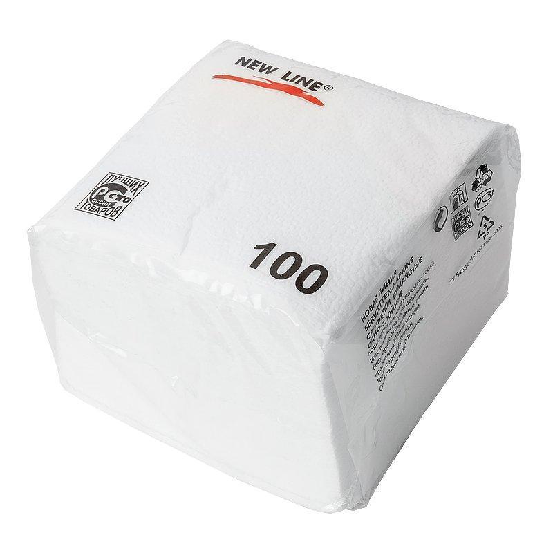 Салфетки 24х24см, 1 сл., в ПЭ упаковке, бел., бумага, 100 шт/уп, 100 шт
