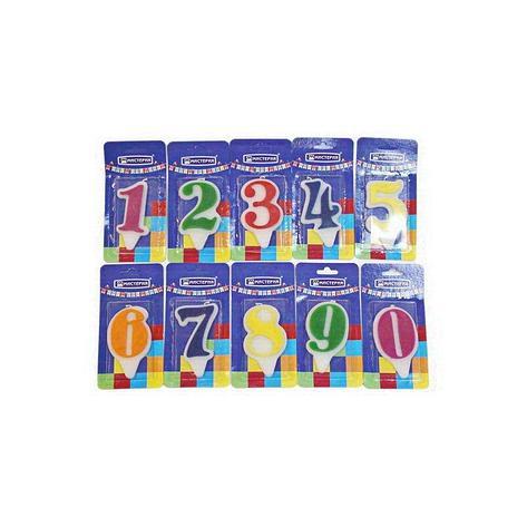 "Свеча для торта  цифра 0 ""Волна"" цвет в ассортименте вес 15г d 9*5мм, фото 2"