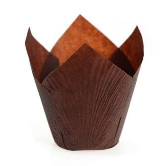 Форма для выпечки бум. Тюльпан 50х95мм, коричн.
