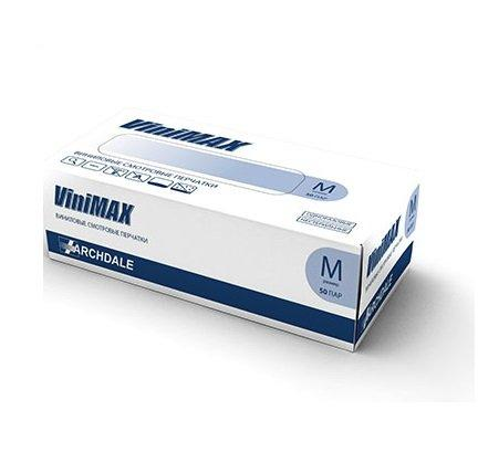 Перчатки виниловые, без талька , голубые (M), 50 шт