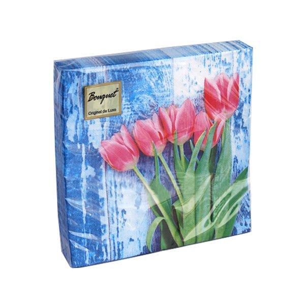 "Салфетки 33х33см, 2 сл., ""Красные тюльпаны на голубом"", Бумага, 20 шт"