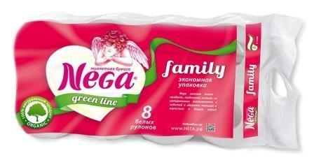 Бумага туалетная 2сл. 8шт. Nega Family, 8 шт