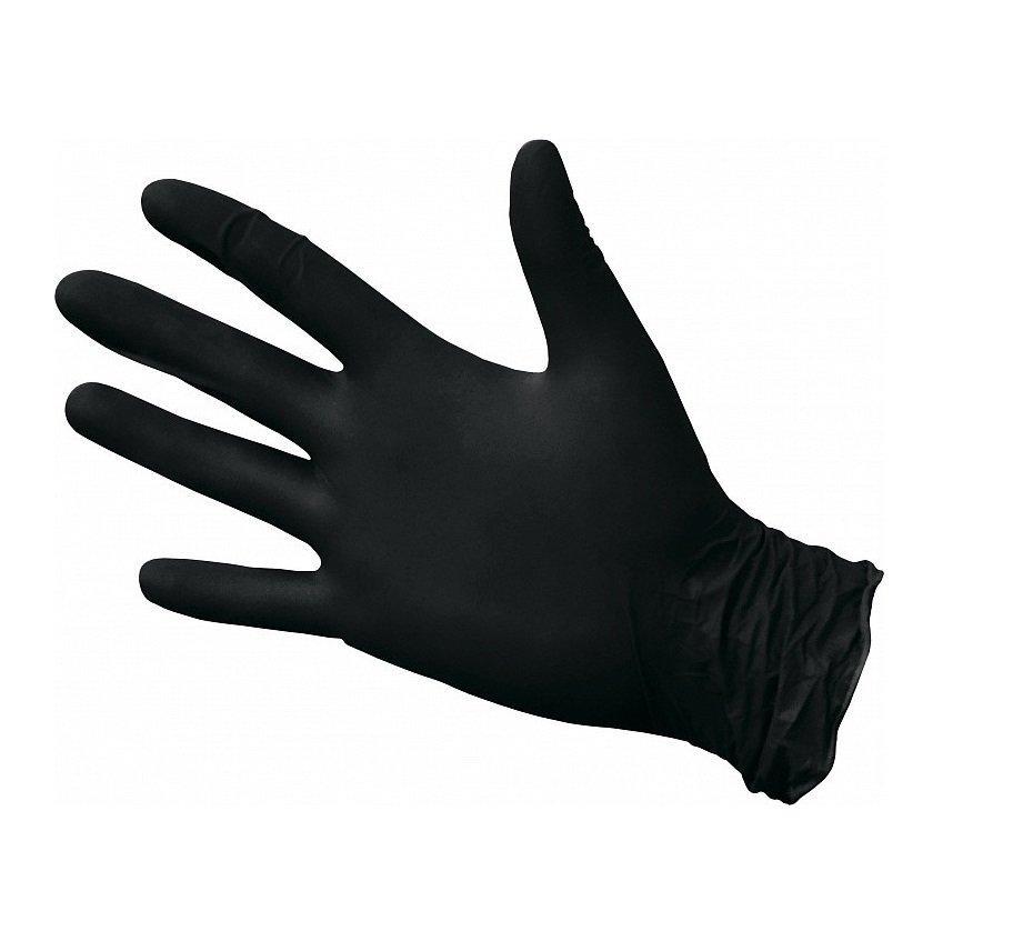 Перчатки виниловые, без талька, р-р. S, черные, 100 шт