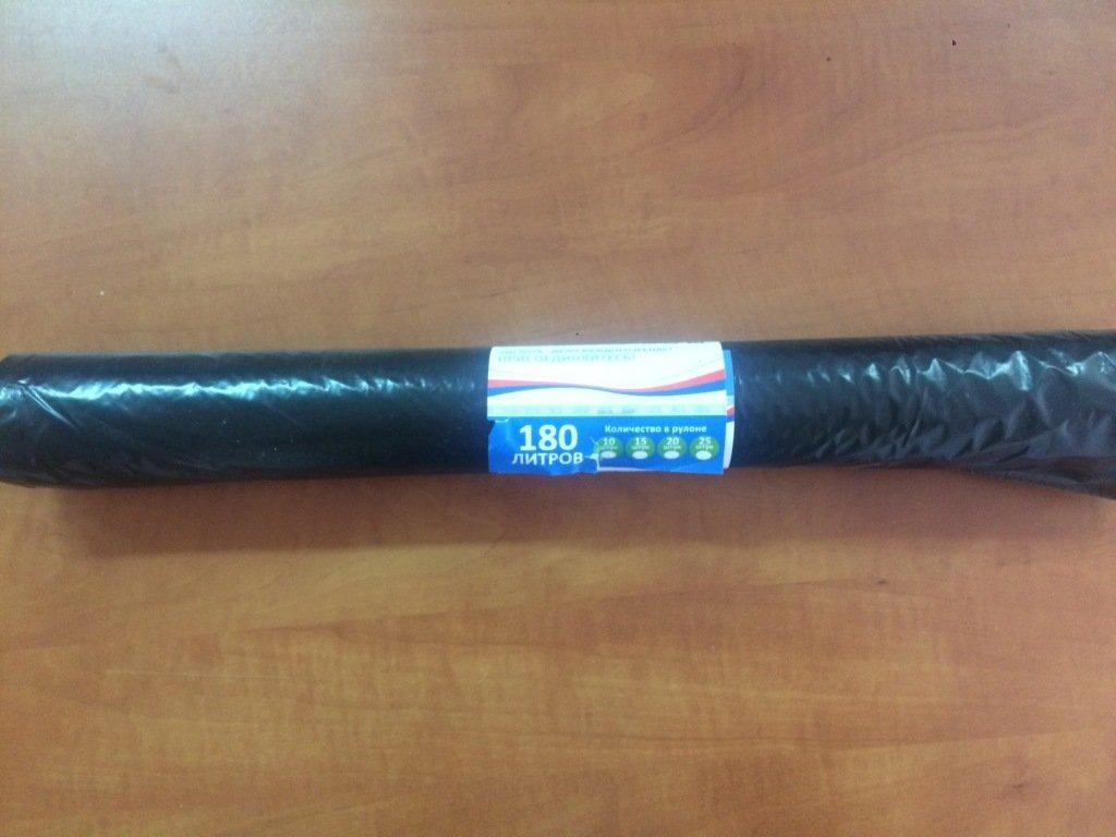 Мешок д/мусора 180л 70(+20)х110см ПВД черный, 10 шт/рул.