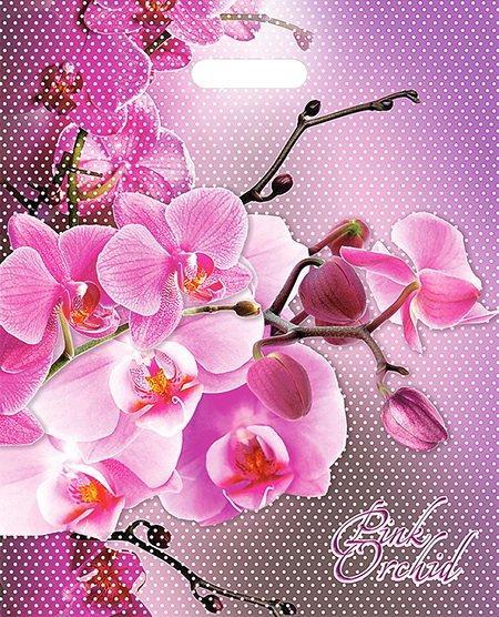 """Пакет (мешок) проруб. ПВД 47х38см, 60мкм, """"Орхидея розовая"""", 25 шт"""