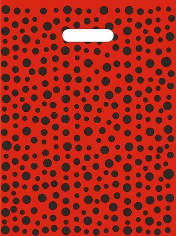 """Пакет (мешок) проруб. ПВД 40х30см, 60мкм, """"Горошек красный"""", 25 шт, фото 2"""