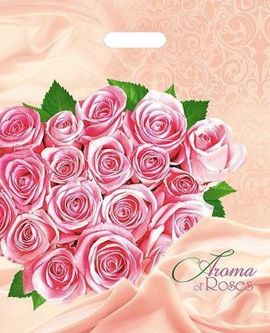 """Пакет (мешок) проруб. ПВД 47х38см, 60мкм, """"Розовые розы"""", 25 шт, фото 2"""