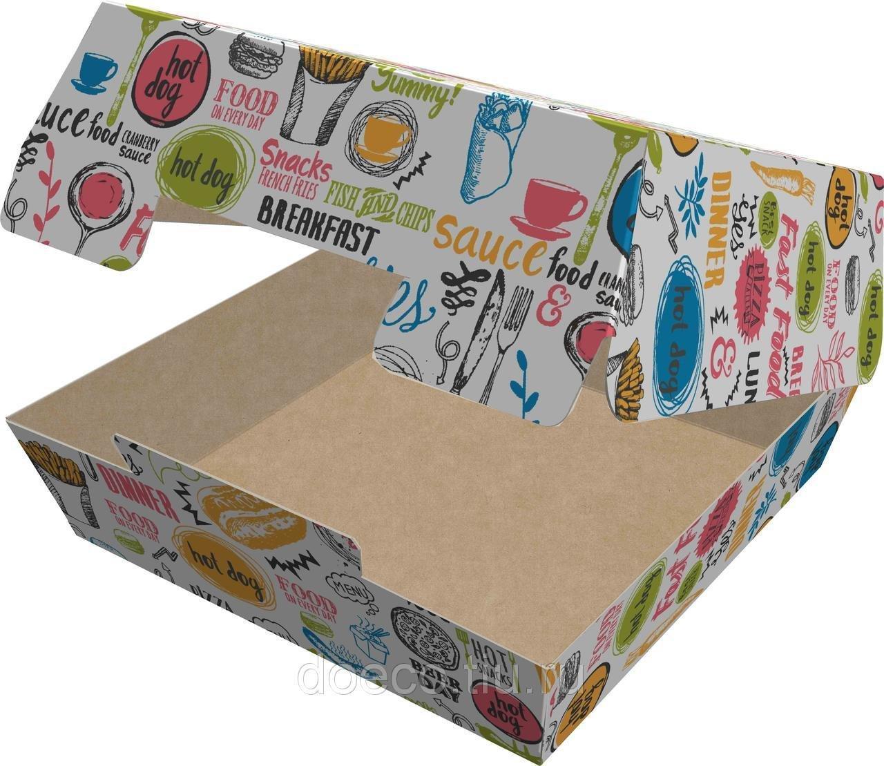 Коробка д/гамбургера, 100х100х60мм, ECO BURGER M ENJOY с печатью, картон, 150 шт