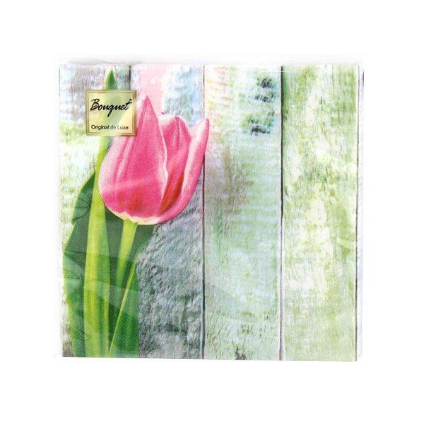 "Салфетки 33х33см, 2 сл., ""Розовый тюльпан"", Бумага, 20 шт"