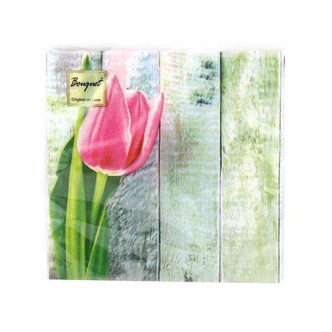 "Салфетки 33х33см, 2 сл., ""Розовый тюльпан"", Бумага, 20 шт, фото 2"