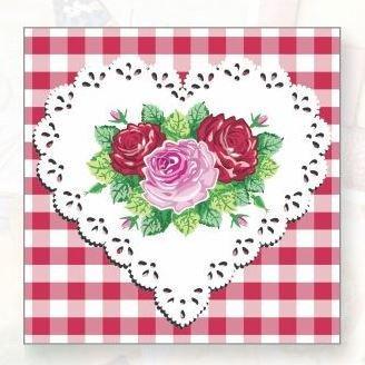 "Салфетки 33х33см, 2 сл., ""Сердце и розы"", Бумага, 20 шт"