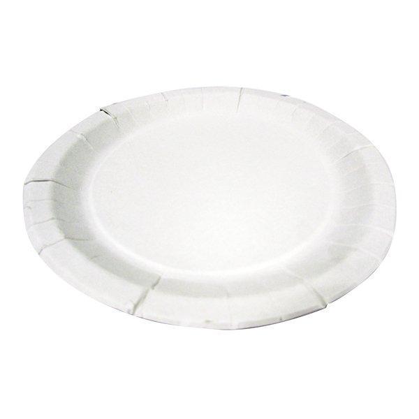 Тарелка d 230мм, толщ. 0.5мм, бел., картон, 250 шт