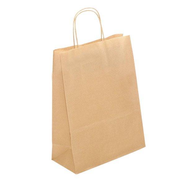 Пакеты-сумка (250+110)х320мм  коричн.,78г/м2, крафт бум. с кручеными ручками, 300 шт